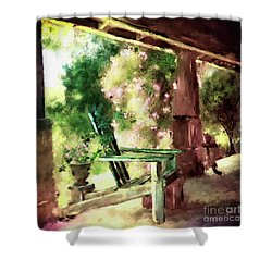 Shower Curtain featuring the digital art Pink Roses On The Porch by Lois Bryan