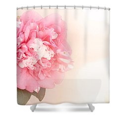 Shower Curtain featuring the photograph Pink Ruffled Camellia by Cindy Garber Iverson