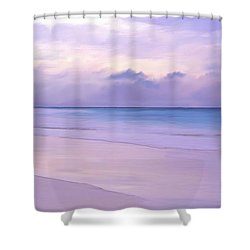 Pink Sand Purple Clouds Beach Shower Curtain by Anthony Fishburne