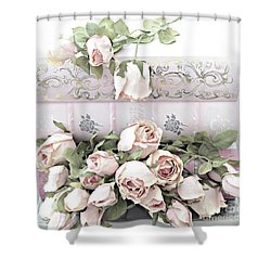 Shower Curtain featuring the photograph Pink Shabby Chic Roses On Pink Cottage Books - Shabby Cottage Pink Roses Home Decor by Kathy Fornal