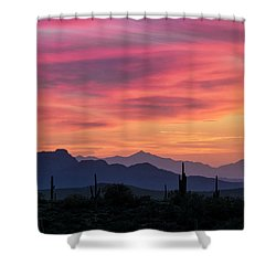 Shower Curtain featuring the photograph Pink Silhouette Sunset  by Saija Lehtonen