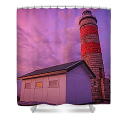 Pink Skies At Cape Moreton Lighthouse Shower Curtain