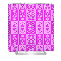 Pink Skull And Crossbones Pattern Shower Curtain by Roseanne Jones
