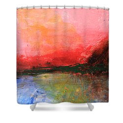 Pink Sky Over Water Abstract Shower Curtain