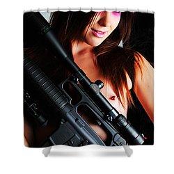Pink Sniper Shower Curtain by Robert WK Clark