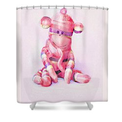 Pink Sock Monkey Shower Curtain by Jane Schnetlage