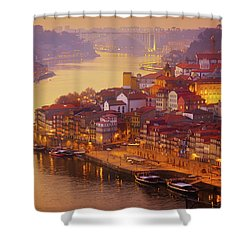 Pink Sunset In Porto Shower Curtain