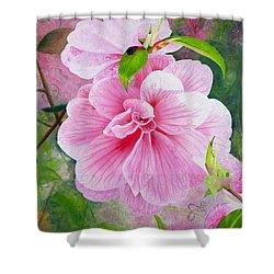 Pink Swirl Garden Shower Curtain by Shelley Irish