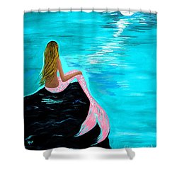 Pink Tail Shower Curtain by Leslie Allen