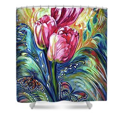 Pink Tulips And Butterflies Shower Curtain by Harsh Malik