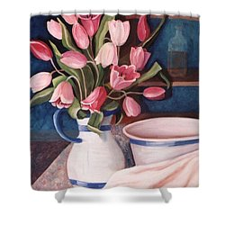 Shower Curtain featuring the painting Pink Tulips by Renate Nadi Wesley
