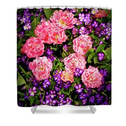 Pink Tulips With Purple Flowers Shower Curtain by James Steele