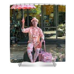 Pink Umbrella Man Shower Curtain