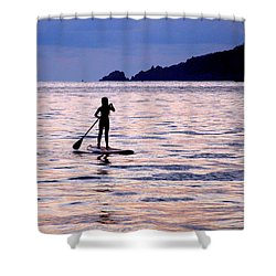 Pink Water Girl Shower Curtain