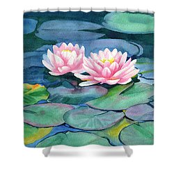 Pink Water Lilies With Colorful Pads Shower Curtain