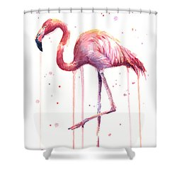 Pink Watercolor Flamingo Shower Curtain
