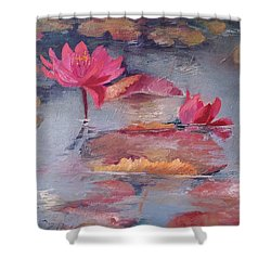 Pink Waterlilies Shower Curtain