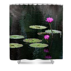 Pink Waterlillies Shower Curtain by Carolyn Dalessandro