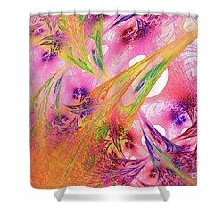Shower Curtain featuring the digital art Pink Web by Deborah Benoit