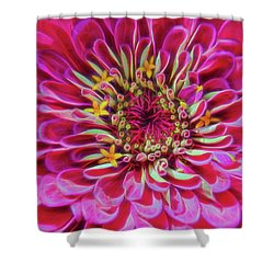 Pink Zinnia Glow Shower Curtain