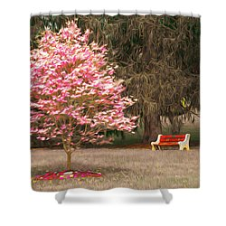 Pinky And The Bench - Impressionism Shower Curtain