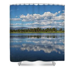 Pinon Lake Reflections Shower Curtain by Jason Coward