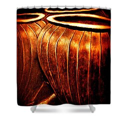 Pinstripe Copper Pots Shower Curtain