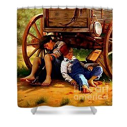Pioneer Boys Napping On The Trail Shower Curtain by Peter Gumaer Ogden
