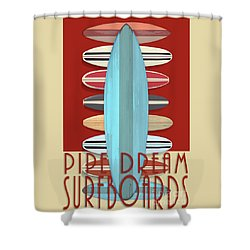 Shower Curtain featuring the digital art Pipe Dream Surfboards 2 by Edward Fielding