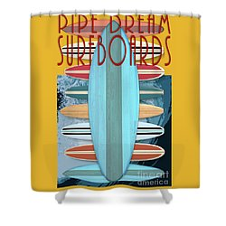 Shower Curtain featuring the digital art Pipe Dream Surfboards 4 by Edward Fielding