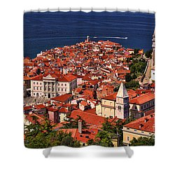 Piran From The Castle Wall Shower Curtain by Graham Hawcroft pixsellpix
