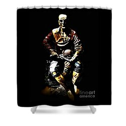 Pirate And Skull Shower Curtain by Annie Zeno