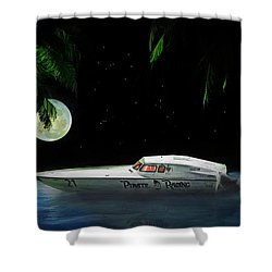 Shower Curtain featuring the painting Pirate Racing by Michael Cleere
