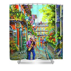 Pirate Sax  Shower Curtain by Dianne Parks