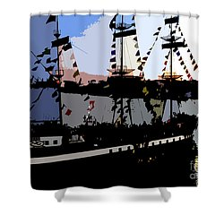 Pirate Ship Shower Curtain by David Lee Thompson