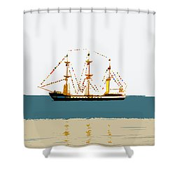 Pirate Ship On The Horizon Shower Curtain by David Lee Thompson