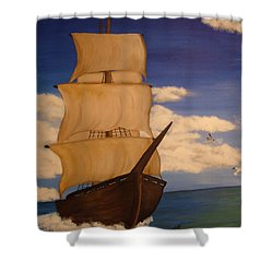 Pirate Ship With Gulls Shower Curtain by Vickie Roche