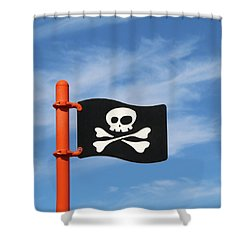 Shower Curtain featuring the photograph Pirate Skull And Cross Bones by Art Block Collections
