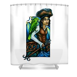 Pirate With Parrot Art Shower Curtain