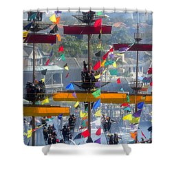 Pirate's In The Rigging Shower Curtain by David Lee Thompson