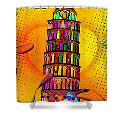 Shower Curtain featuring the digital art Pisa Popart By Nico Bielow by Nico Bielow