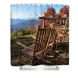 Pisgah Inn's Rocking Chairs Shower Curtain