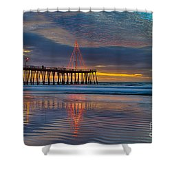 Pismo Beach Christmas Shower Curtain