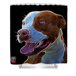 Pit Bull Fractal Pop Art - 7773 - F - Bb Shower Curtain by James Ahn
