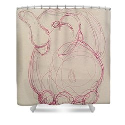 Shower Curtain featuring the drawing Pitcher by Erika Chamberlin