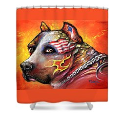 Pit Bull Shower Curtain by Patricia Lintner