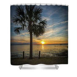 Pitt Street Bridge Palmetto Tree Sunset Shower Curtain