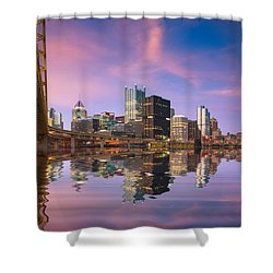 Shower Curtain featuring the photograph Pittsburgh  Blue Hour  by Emmanuel Panagiotakis