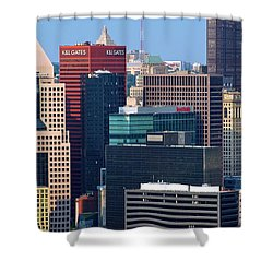 Shower Curtain featuring the photograph Pittsburgh Building Cluster by Frozen in Time Fine Art Photography