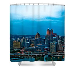 Pittsburgh In Hdr Shower Curtain by Kayla Yankovic